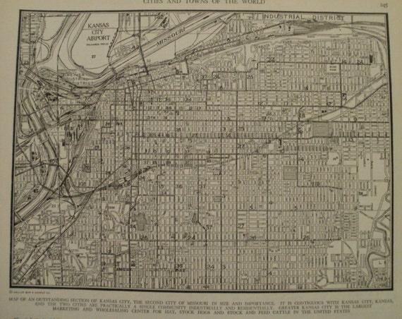 Kansas City MapKansas City Missouri MapVintage City MapUSA