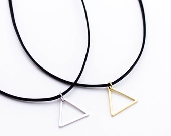 Triangle choker plated necklace love, cute, adorable