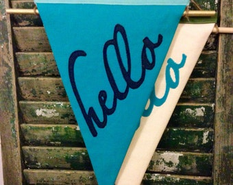 HELLO canvas pennant banner flag