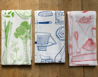 3-pack - all 3 words & illustration screen printed tea towel with illustrations by amelie persson