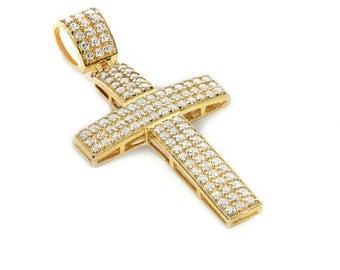 14k solid gold cubic zircon cross.
