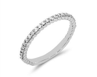 14k solid white gold diamond wedding band. .23ct diamond wedding band. gold wedding band