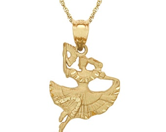 14k solid gold spanish dancer pendant with chain. dancer jewelry