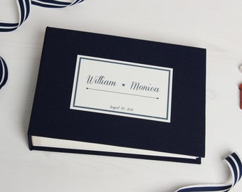 Instant Nautical Guestbook Wedding Instax Album Sign in Book with White Lettering - by Liumy