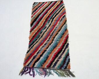 TRADITIONAL RUG Berber Hallway Runner Moroccan Berber Azilal Diagonal  Colorful Rag Rug 2x5 Boucherouites Moroccan Rugs