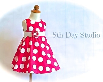 Girls Dress, Pink Polka Dot Dress,  2T - 6, Spring, Summer, Special Occasions, Wedding by 8th Day Studio