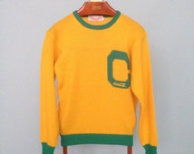 Vintage 80s Green and Yellow Coca Cola Varsity Knit Captain Sweater - Medium