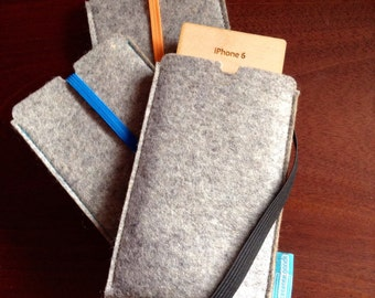 iPhone 7 & iPhone 6 wool felt sleeve/case with elastic
