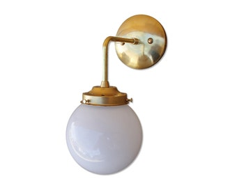 Brass Wall Sconce Glass Globe Shade modern