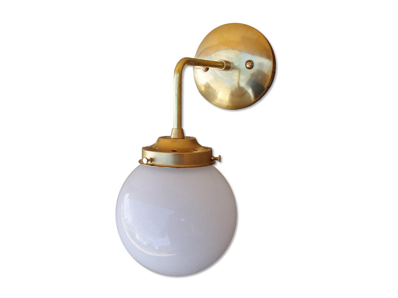 Glass Globe Wall Lights : Brass Wall Sconce Glass Globe Shade modern