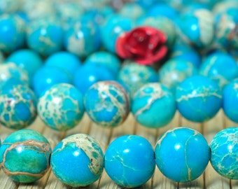 62 pcs of Blue Imperial Jasper smooth round beads in 6mm