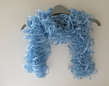 Ruffle scarf, Frilly scarf, Knitted scarf, Fashion scarf, Autumn,  Winter Accesories, Autumn Fashion, light blue, gifts, Mother's Day gift