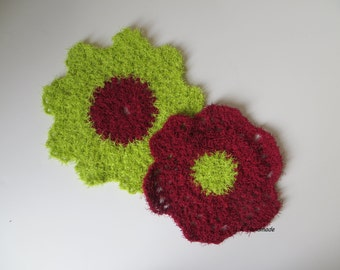 Crochet flower Dishcloths / Washcloths, Flower Scrubber, Dish Scrubbie, Flower Susemi Scrubby, Bathrooms Scrubber, Hostess Gift, red, green