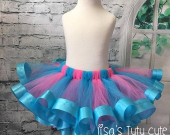 Pink and blue tutu, pink and turquoise tutu, cotton candy tutu, candyland tutu, candyland birthday, candyland party, candy land tutu