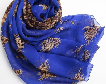 Blue Floral Silk Chiffon Scarf - Floral Silk Scarf - Royal Blue Silk Chiffon Scarf - Royal Blue Silk Chiffon with Floral Print - AS S-2