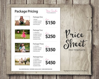 Price List Template - Photography Pricing List - Sell Sheet with Photos - Photoshop Template Photography Packages - INSTANT DOWNLOAD