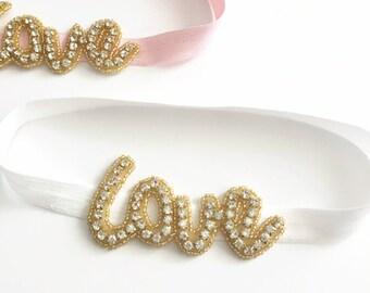 valentines day headband, love headband, rhinestone headband