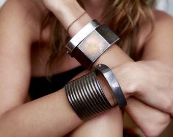 80s Retro Taxco Mexico Oxidized Ribbed Wide Cuff Bracelet