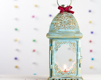 Gift for Her Sky Blue Metal Lantern Centerpiece Shabby Chic Decor Moroccan Decor Candle Holder