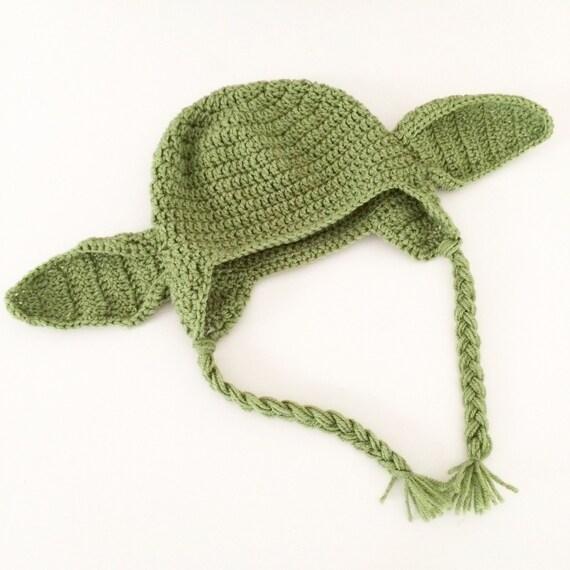 Crochet Star Wars Yoda braided sides hat / star wars / yoda / yoda hat