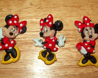 Disney Minnie Mouse Buttons for Sewing, Scrapbook, or Cards, Set of 3