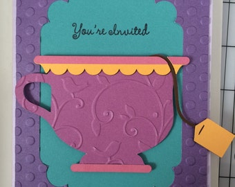 Tea cup invitations - set of 10