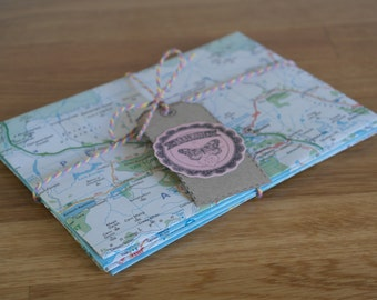 5 Handmade Up Cycled Road Map Envelopes Wedding Stationary Snail Mail Scrap Booking Memory Pockets