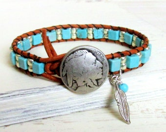 Beaded Turquoise Leather Wrap Bracelet ~ Southwestern Western Cowgirl Native American Boho Bohemian Indian Head Nickel Eagle Feather
