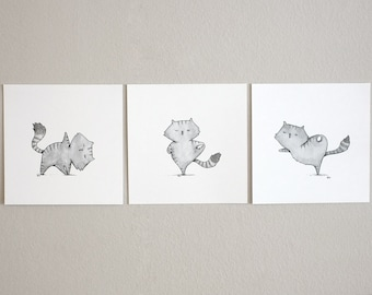 SALE! Pack of 3 Yogacat mini prints