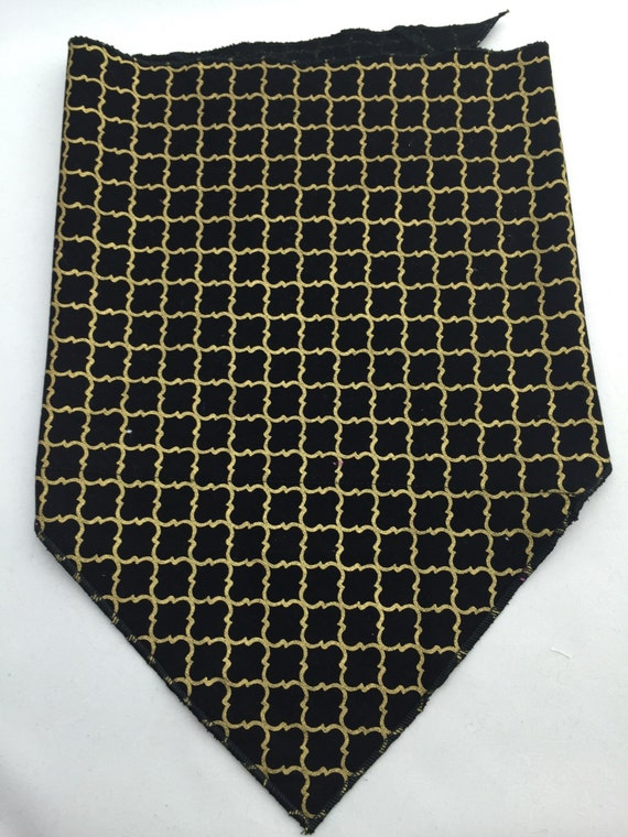 Gilded: Black and gold stash pocket bandana w/ shiny gold print