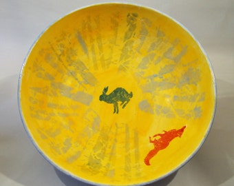 The Hare and the Fox Handmade Ceramic Fruit Bowl