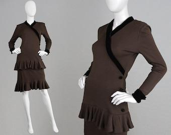 Vintage 70s 80s OSCAR De La RENTA Italian Made Brown Knit Dress Ruffle Dress Tiered Dress Black Velvet Trim Knee Length Smart Office Dress