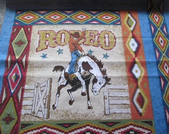 Rodeo Pillow Panel  100% Cotton Southwest Print By the Yard #502