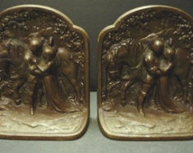Medieval Romance Scene Bookends ~ Bronze washed cast iron