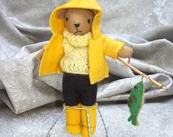 Small / Miniature Wool Felt ARTIST BEAR in Outfit with FISHING Pole and Fish