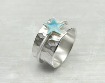 925 Silver Spinner Ring, Rotating ring  COLOR STAR, 925 silver, silver ring with moving star ring, band ring