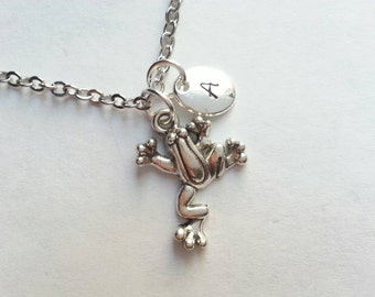 Personalized Silver Frog Necklace, Initial,  Handstamped