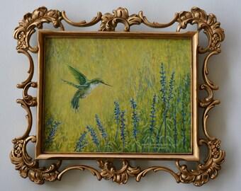 Hummingbird Oil Painting In Florentine Frame