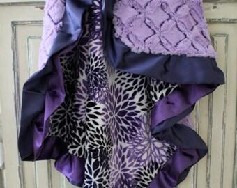 Premier Prints Blooms Mockingbird Minky Cuddle Indigo Blue, Purple, Gray and White Blanket, Crib Bedding, Nursery, Baby Shower, Baby Girl