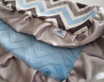 Powder Blue, Grey, Silver and White Chevron Print with Solid White Embossed Chevron Print,  Light Gray Satin Trim LOVIE Minky, Blanket