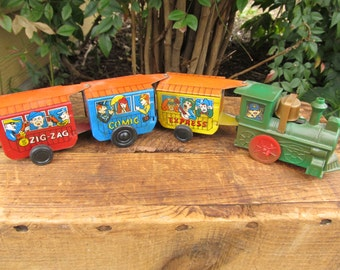 Vintage Zig Zag Comic Express Tin Lithograph and Plastic Train - Wind Up Tin Train