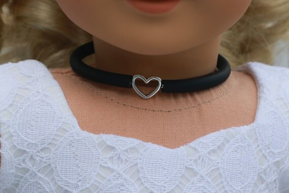 Doll Accessories | HEART Charm CHOKER NECKLACE in Black or Frosted White for dolls such as American Girl Doll