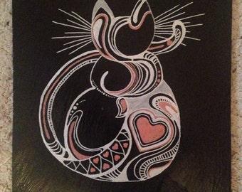 Cat Slate Trivet Pot Holder or Cheeseboard
