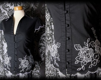 Goth Black White Embroidery Detail OPHELIA Fitted Blouse 10 12 Victorian Vintage