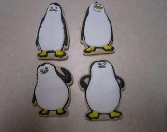12 Cute Penguins of Madagascar Hand Decorated Cookies