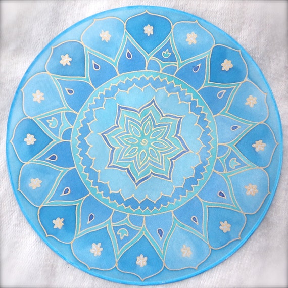 """Lotus flower  mandala on silk, 10"""" Ø, silk painting, meditation, picture, relaxation, new age"""