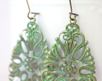 ON SALE Earrings, Green patina filigree vintage brass finish No. E29
