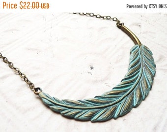ON SALE Necklace, Large Turqoise Patina Feather necklace  No. N9
