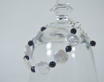 White Coin Pearl Bracelet with Blue Goldstone and Sterling Silver