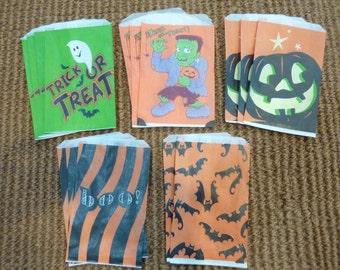 16 Halloween Treat Favor Bags Paper Vintage Party Trick or Treat Loot Goodie Bags